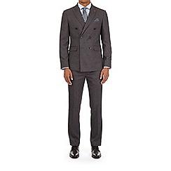 Burton - 3 piece mid grey and textured slim fit mouline suit