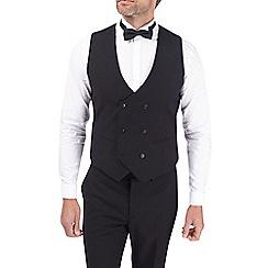 Burton - Black textured slim fit tuxedo waistcoat