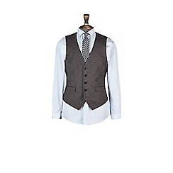 Burton - Mid grey slim fit waistcoat with textured mouline