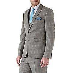 Burton - Slim Fit Grey Windowpane Check Suit