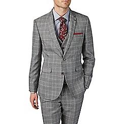 Burton - 3 Piece Montague Burton Slim Fit Grey And Burgundy Check Suit