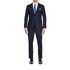 Burton - 3 piece blue slim fit mini textured suit