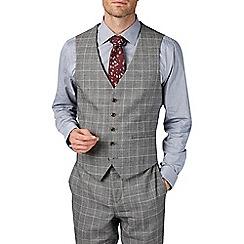 Burton - Montague burton slim fit grey and burgundy check waistcoat