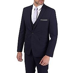 Burton - 3 Piece Navy Textured Slim Fit Suit