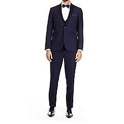 Burton - Navy dobby slim fit tuxedo suit jacket