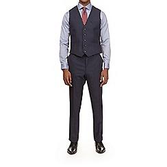 Burton - Montague burton wool navy textured slim fit waistcoat