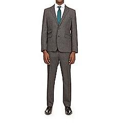 Burton - 3 piece montague grey puppytooth slim fit suit