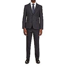 Burton - 3 piece montague blue check slim fit suit