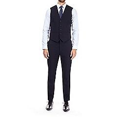 Burton - Navy diamond textured slim fit waistcoat