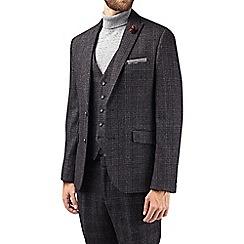 Burton - Montague black wool blend slim fit textured suit jacket