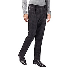 Burton - Montague black wool blend slim fit textured suit trousers