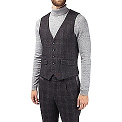 Burton - Montague black wool blend slim fit textured waistcoat