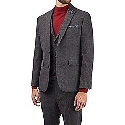 Burton - Montague grey wool blend slim fit puppytooth suit jacket
