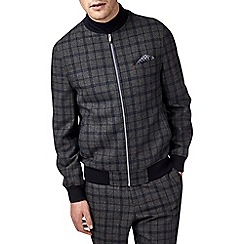 Burton - Montague grey and blue check bomber jacket