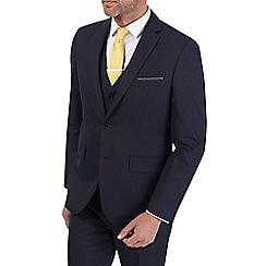 Burton - 3 Piece Navy Pin Dot Tailored Fit Suit