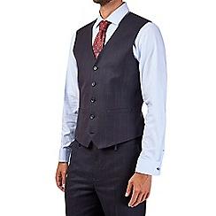 Burton - Tailored fit navy windowpane check waistcoat