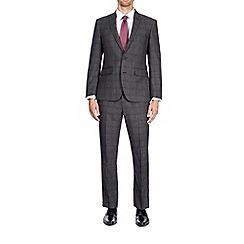 Burton - 3 piece dark grey tailored fit check suit