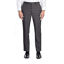Burton - Dark grey tailored fit checked suit trousers