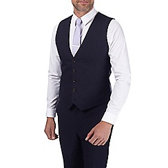 Burton - Navy textured tailored fit waistcoat