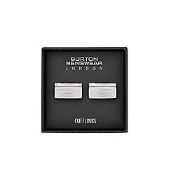 Burton - Silver rectangle cufflinks