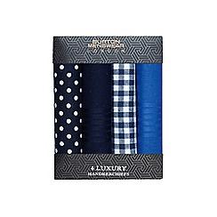 Burton - Blue luxury four pack handkerchiefs