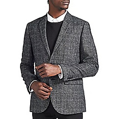 Burton - Black and grey wool blend checked blazer