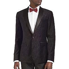 Burton - Black velvet printed blazer