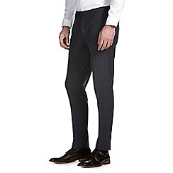 Burton - Navy check skinny fit formal trousers