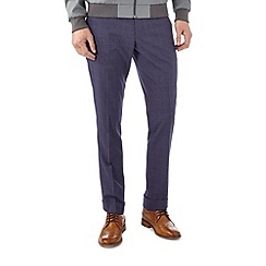 Burton - Skinny fit navy windowpane formal trousers