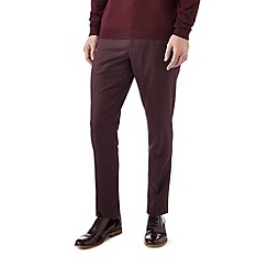 Burton - Skinny fit burgundy textured formal trousers