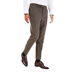 Burton - Brown tapered wool blend trousers