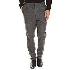 Burton - Light grey premium flannel wool slim fit trousers