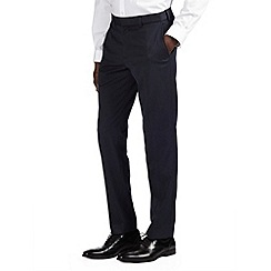 Burton - Navy textured slim fit formal trousers