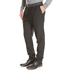 Burton - Charcoal puppytooth slim fit premium flannel wool trousers