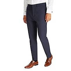 Burton - Montague burton navy stretch cotton textured trousers