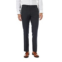 Burton - Slim fit navy windowpane formal trousers