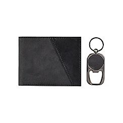 Burton - Black suede wallet and keyring set
