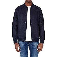 Burton - Navy faux suede baseball bomber jacket