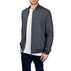 Burton - Grey wool check bomber jacket