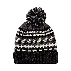Burton - Black and grey pattern knitted bobble hat
