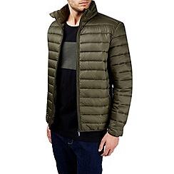 Burton - Khaki funnel neck quilted jacket