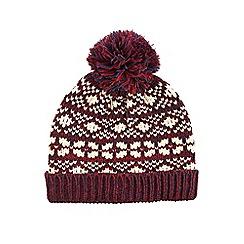 Burton - Burgundy fairisle bobble hat