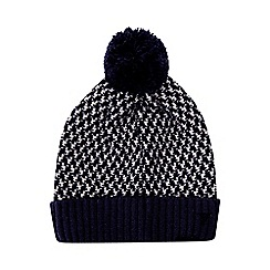 Burton - Navy and white knitted textured bobble hat