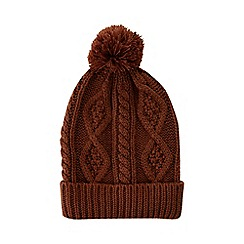 Burton - Rust cable knitted bobble hat