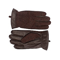 Burton - Brown heringbon leather gloves