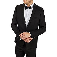 Burton - Black blazer with pu collar trim