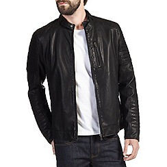 Burton - Black leather look biker jacket