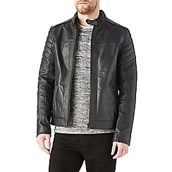 Burton - Black leather biker jacket