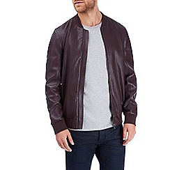 Burton - Burgundy perforated pu bomber jacket