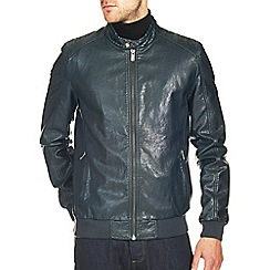 Burton - Teal leather look racer bomber jacket
